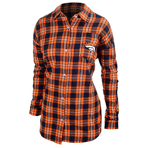Denver Broncos Womens Wordmark Basic Flannel Shirt Small