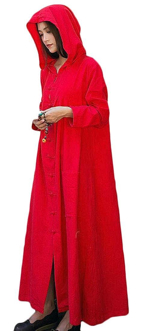 Fllay Womens Retro Cloak Hood Hooded Cape Robe Trench Coat Jacket