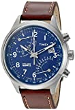 Timex Men's 'Intelligent Fly-Back Chronograph' Quartz Stainless Steel and Leather Casual Watch, Color:Brown (Model: TW2P78800ZA)