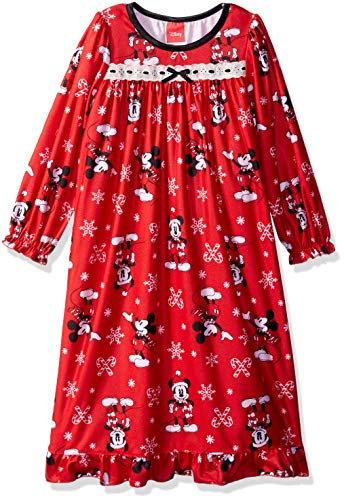 Disney Girls' Big Mickey Mouse Holiday Family Sleepwear Collection, Candy Cane, 10 -