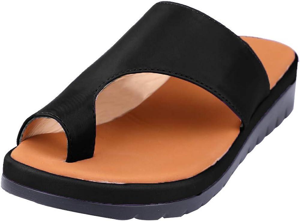 Hphore Mujere Zapatos ortopédicos Casual Verano Femeninos Ocasionales Cuero de PU Suave Sandalias de corrección Dedo Gordo pie para Mujeres Piso con Corrector ortopédic