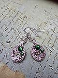 Steampunk Earrings - Steampunk jewelry - Steampunk ear gear watch movement - Emerald - Bulova - made by Steampunkjunq