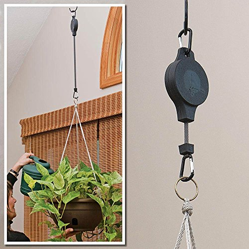- Bits and Pieces Home and Garden Gadgets-Easy Reach Plant Pulley Set of Two (2) Makes Watering Home Plants Easy - Raise and Lower Plants and Bird Feeders With One Touch
