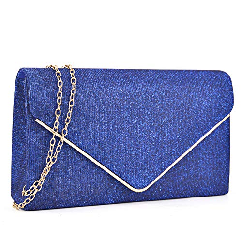(Women Glistening Clutches Handbags Evening Bags Wedding Purses Cocktail Prom Party Clutches (Blue) )