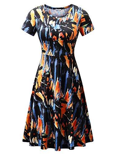 HUHOT Summer Midi Dress,Women Hawaiian Endless Summer Casual Dress Flower-40 Medium -