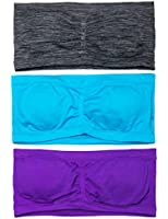 CC Girls 2 or 3 Pack Bandeau Bra with Removable Pads Includes Clear Straps
