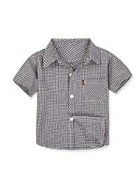 Jwhui Baby Boys Shirt Plaid Striped Kids Shirts Wild Short Sleeve Clothes Children's Cotton Clothing 0-10Y