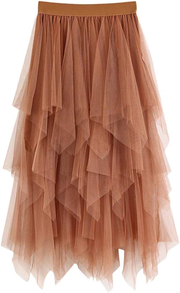 Women lace Elastic Irregular Hem High-Low Pleated Casual Maxi Long Skirt