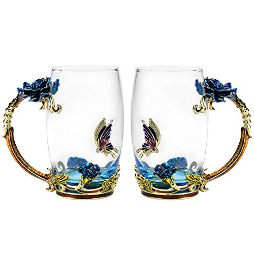 Glass Tea Cup Set [2-Pack], TIANG 12oz Lead-Free Butterfly and Blue Rose Flower Tea Mug with Handle, Unique Personalized Birthday Present Ideas for Women Grandma Mom Teachers Hot Beverages Wife by TIANG
