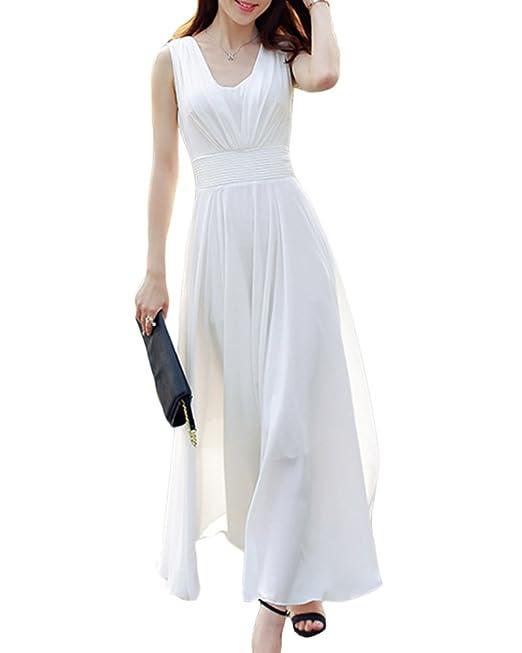 Mujer Elegante Plisado Largo Vestido Gasa Sin Mangas Vestido De Fiesta De Graduación: Amazon.es: Ropa y accesorios