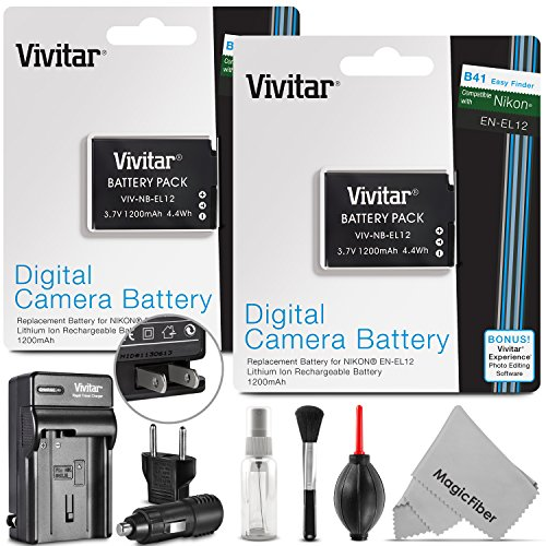 (2 Pack) EN-EL12 Battery and Charger Kit for NIKON Coolpix AW100 AW110 AW120 S9500 S9300 S9200 S9100 S8200 S8100 S6300 P330 - Includes: 2 Vivitar Ultra High Capacity Rechargeable 1200mAh Li-ion Batter...