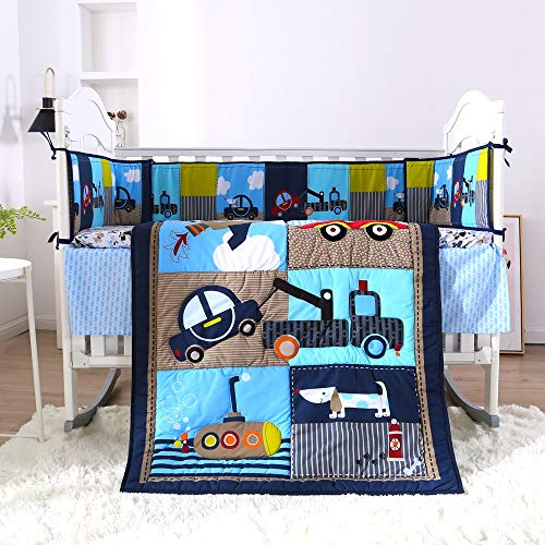 KINBEDY Originals Navy/Blue Scientific Era 7 Piece Crib Bedding Set, Neutral Nursery Crib Set for Baby Girl and Boy, Including 4 Bumper Pads