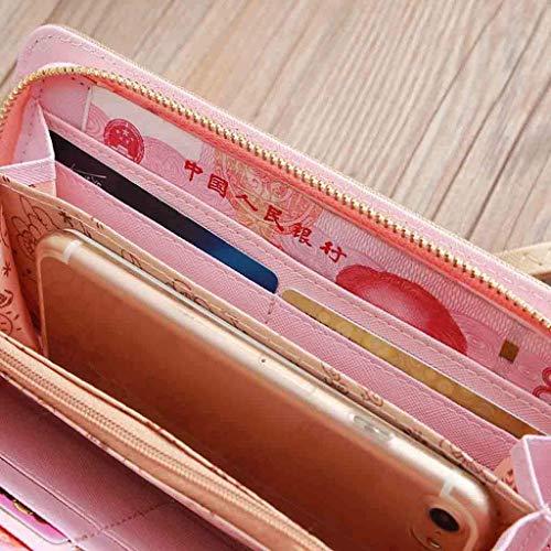 Carte Tasca Zouqilai In Portafogli Con Telefono Frizione Banconote Pink Ad 8 Per Cellulare Fessure Pelle Di Può Scomparti 5 Credito Pink Zip Capacità Porta Mettere Carta colore 1 Il Alta wxOxqdr5I