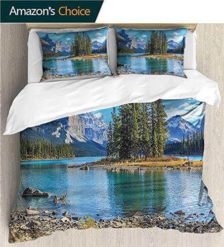 carmaxs-home Kids Quilt 3 Piece Bedding Set,Box Stitched,Soft,Breathable,Hypoallergenic,Fade Resistant with Sham and Decorative 2 Pillows,Full Queen-Mountain Maligne Lake West Canada (87