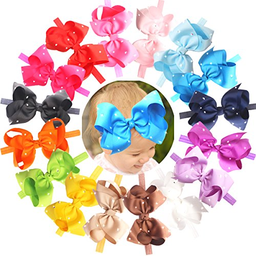 CELLOT 6 Inches Big Bows Headbands Glitter Rhinestones Boutique Hair Bow Headwear Hair Bands For Toddlers and Baby Girls Hair Accessory - Elastic Band Rhinestone