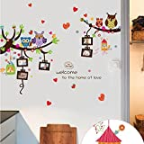 Owls Photo Frames Trees Wall Sticker Decal DIY Art Mural Decor for Kids Baby Boy Girl Children Room Bedroom Nursery Decoration