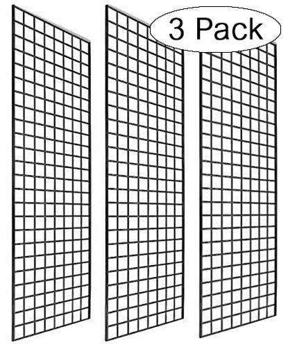 Only Garment Racks 2 x 6 Black Gridwall Panels Pack of 3