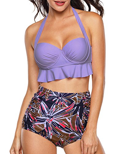 Aixy Women Vintage Swimsuits Bikinis Bathing Suits Retro Halter Underwired Top ()
