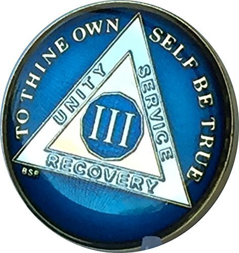 3 Year Midnight Blue AA Alcoholics Anonymous Medallion for sale  Delivered anywhere in USA