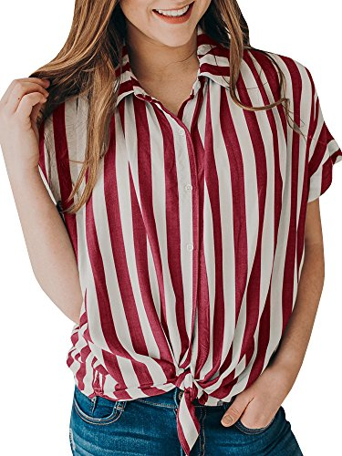 Ivay Women's Striped Button up Front Tie Shirt Casual Summer Loose Short Sleeve Tops ()