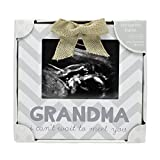 Little Blossoms by Pearhead Grandma I Can't Wait to Meet You Chevron Sonogram Frame, Gift for Grandma, Gray & White
