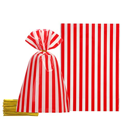 Red Cellophane Bags 5.5x8 inch with Twist Ties for Treat Candy Cookie Party Favor Bags, Red White Stripes,Pack of 100 (Stripe Twist Ties)