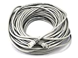 Monoprice Cat5e Ethernet Patch Cable - Network Internet Cord - RJ45, Stranded, 350Mhz, UTP, Pure Bare Copper Wire, Crossover, 24AWG, 100ft, Gray