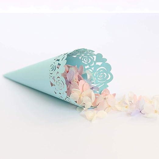 50 PCS Conos de Confeti para Bodas, Azul, Titulares de Conos de Confeti, Caja de Amor Romántica con Corte de Láser Color de Rosa para El Matrimonio, ...