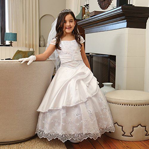 Angels Garment Big Girls White Gathered Sequin Trim Communion Dress 10 by Angels Garment