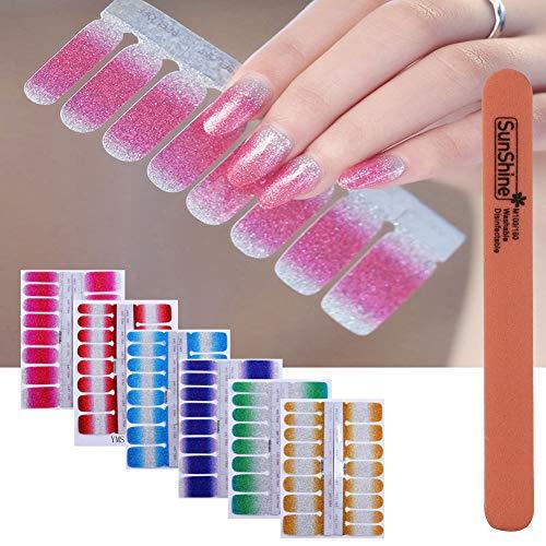 WOKOTO 6Pcs Nail Polish Stickers With 1Pc Nail File Kit Full Nail Tips Nail Self Adhesive Stickers Nail Designs Set ()