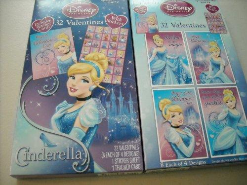 Hallmark Cinderella 32 Valentines With Sticker Sheet, Includes Teacher Card