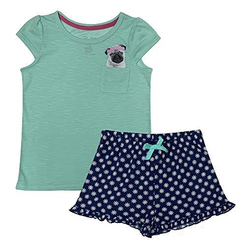 Popular Girl's Short Sleeve and Shorts Pajama Sleepwear Set - Pug - 14/16