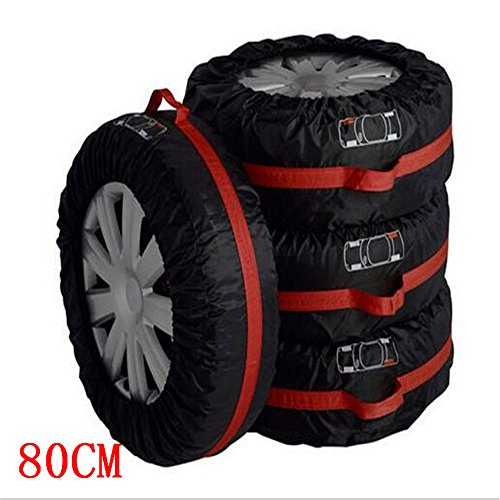 (Ken-Tool Car Black Red 13-16'',17-20'' Automotive Spare Tire Tyre Wheel Cover with Carrying Handles Tote Car Wheel Protector Storage Bag (4PCS of Pack) (80cm))