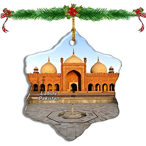 Fcheng Badshahi Mosque Lahore Pakistan Christmas Ceramic Ornament Tree Decor City Travel Souvenir Double Sided Snowflake Sublimation Porcelain Hanging Ornament]()