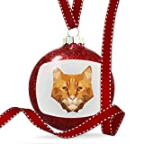 Christmas Decoration Low Poly Animals Modern design Orange Tabby Cat Ornament