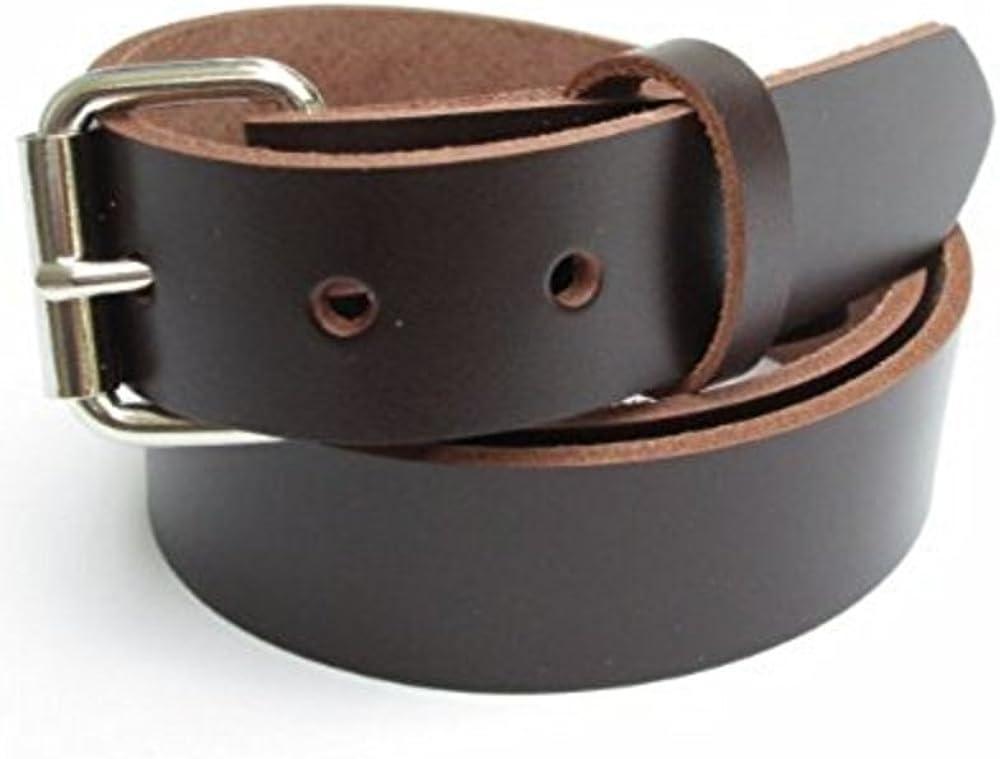 Mens Heavy Duty Dark Chocolate Brown Leather Belt 1 1//4 Wide