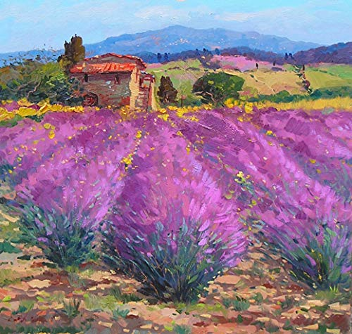 Agostino Veroni Lavender Landscape Painting on Canvas Original Hand Painted Country Art Large Home Wall Decor (Painting Ship Rolled)