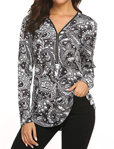 - Locryz Floral Print Tunic, Women's Henley V Neck Zipper Ruched Vintage Long Sleeve Tunic Shirt M Black Floral