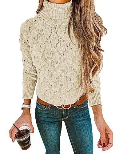 HZSONNE Womens  Vintage Casual Long Sleeve Turtleneck Ripped Slim Fit  Pullover Sweater Knitted Jumper Tops 18de5999b