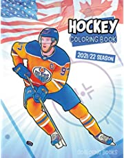 Hockey coloring book: NHL coloring book with all the teams and the greatest players (2021-2022 season)