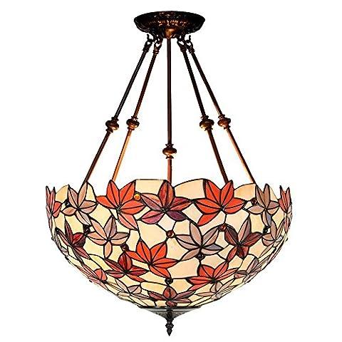 RainierLight Tiffany Style Pendant Hanging Lamp 3 Light 18 Inch for Indoor/Restaurant/Bedroom Glass Lampshade Maple Leaf - Maple Three Pendant Light