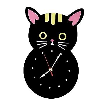 ZJWZ Reloj de Pared Gato Dibujos Animados láser Corte Cara Cara Metal Reloj de Pared silencioso Reloj de Cuarzo precisión Arte decoración Reloj: Amazon.es: ...