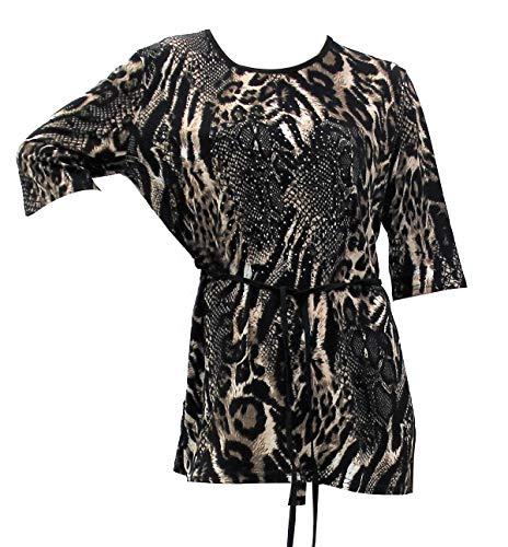 Jersey Dress Paisley Print (Women's Animal Print Rhinestone Top Jersey Scuba Style Blouse T Shirt - Beige)