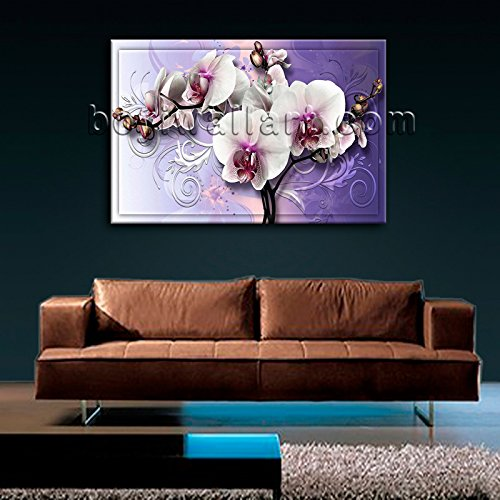 Large Modern Abstract Floral Orchid Flower Print Canvas Art