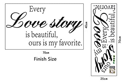 English Quotes Every Love story Wall Stickers DIY Mural Art Decal Self Adhesive Removable PVC Wall Paper Decor for Bedroom Living Room,Black