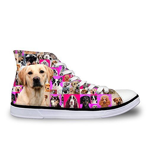 Trainers Sneakers Dogs for Dog HUGSIDEA Canvas Women 18 Shoes Print High Top SYwx66ZCq