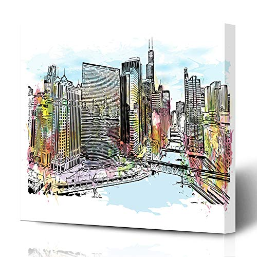 Cityscape Wall Bracket (Ahawoso Canvas Prints Wall Art 12x12 Inches Famous River Watercolor Splash Sketch Du Sable Bridge Chicago Skyline Water Abstract America Wooden Frame Printing Home Living Room Office Bedroom)