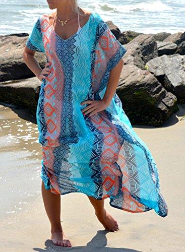 409d6a8535 Rainlover Women s Printed Turkish Kaftans Beach Bikini Cover up Dress