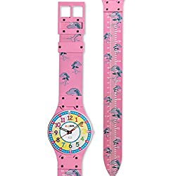 Creative Kids Growth Chart with Teaching Clock by ZYX Kids Co. | Fun Childrens Growth Charts & Educational Clocks | Kid Wall Clock | Child Growing Chart | Large Watch Wall Clock for Toddlers | PINK