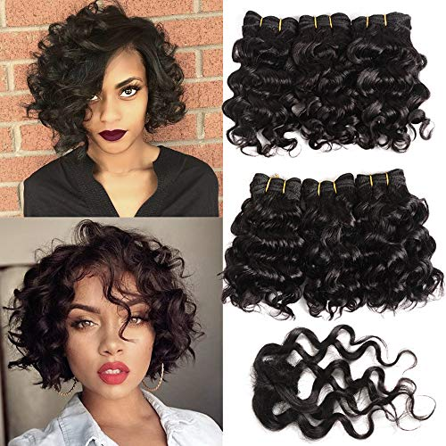 - 6Pcs Brazilian Deep Curly Weave Short Human Hair Bundles With Closure 100% Human Hair Extensions Short 1B Black Hair Bundles Bob Hair Weave 8 inch